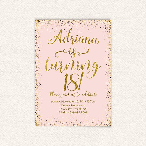 18th birthday pink and gold 18th birthday party birthday 18th birthday pink and gold 18th birthday party birthday invitation birthday party printable invitation 18 years oldhappy birthday 27 stopboris Images