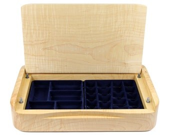 Wooden Jewelry Storage - Modern Jewelry Box, Handmade Wooden Curly Maple Jewelry Case With Soft Close Lid -  Limited Edition Number 4 of 4