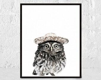 Owl Print Wall Art Owl Art Owl Print Bird Prints Bird Art Wall Art Print Nursery Animal Wall Art