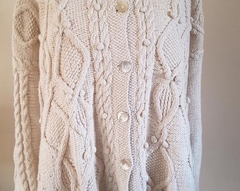 Hand Knitted Cable Cardigan in Natural Ecru