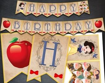Snow White Banner, Snow White Birthday Banner, Snow White Party, Princess Snow White, Printables, Birthday Favors, Digital Banner, DIY