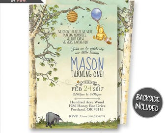Winnie The Pooh Invitation, Classic Winnie The Pooh Invitations, Winnie The Pooh Birthday Invitations, Personalized, Printables, Digital