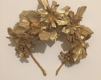 Gold Leather Flower Crown