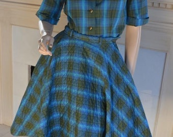 Vintage Jane Compton Rockabilly Plaid Full Circle Skirt Quilted Western S