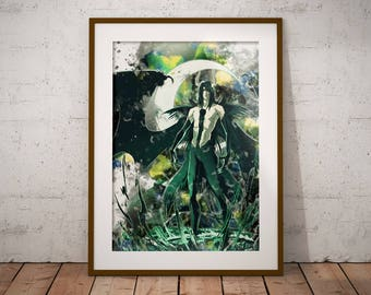 Ulquiorra Cifer Bleach Poster Watercolor Poster Anime Watercolor Art Print, Anime Poster Watercolor Wall Art n481