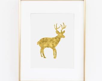 Wall Art Print - Gold Deer Antler Digital Download Art Print | Hipster Animal Woodland