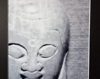 Stone Buddha Head Matted Photograph 11 x 14