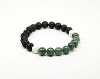Canadian Jade Bracelet, Sterling Silver, Lava Stone, Healing Gemstones, Aromatherapy Jewellery, Essential Oil Diffuser