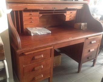 Roll Top Oak Desk, Vintage Desk, Lawyer Desk, Roll Top