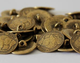 Buffalo Round Antique Brass Plate Buttons - BUT 004
