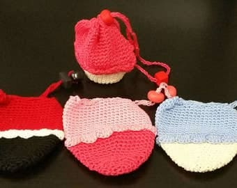 Crocheted Mini-Cupcake Coin Purses - Lot of 4