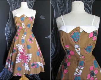 Vintage Tiki Sundress. 80s Does 50s Hawaiian Print Full Skirt Dress. Cotton Hawaiian Print Rockabilly Dress. Size Large US 10.
