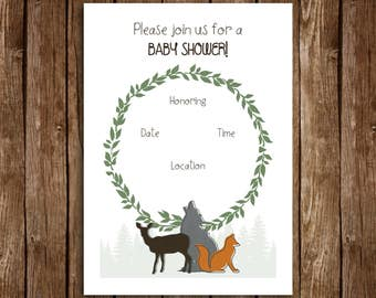 Woodland Baby Shower Invitation - DIY Printable
