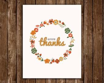 Give Thanks - Autumn/Fall Print Decor - DIY Printable PDF