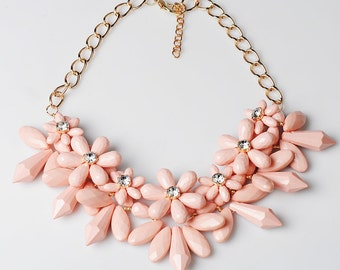 Chunky Pink Flower Bib Statement Necklace