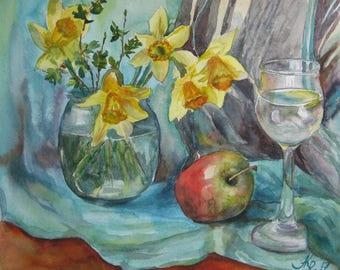 Original still life  watercolor, Daffodils watercolor, Watercolor bouquet, Painted apple, Yellow flowers,  Art Kitchen, kitchen decor