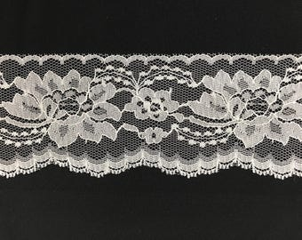 Floral Pattern Chantilly Lace Trim Fabric Sold By The Yard