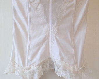 True Vintage 38C white Bustier with Garters Made by Lady Cameo