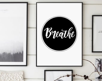 Breathe Print, Yoga Print, Curcle Typography, Pilates Poster, Relaxation Gifts, Breathe Poster, Inspirational Poster, Modern, Typography Art