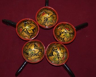 Small Russian Wooden Painted Spoons