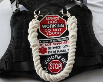 PULL STRAP || 100% Cotton Hand Dyed Rope Pull Strap For Service Dog Vest Harness