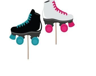 Cupcake Topper, Birthday cupcake topper, Skates cupcake topper, birthday party, Skating party, Skating picks, Party supplies, party decor
