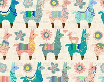 Llama Fun Fabric - Small by mariafaithgarcia