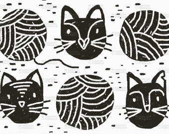 Yarn Cats Fabric by RuthRobson