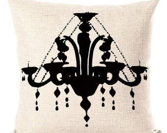 Beige Black Chandelier Throw Pillow Cover Girly Girl Home Bedroom Decor Pillow Couture Perfume