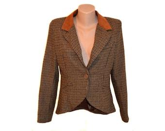 Vintage women brown wool blazer