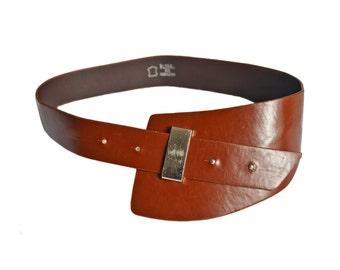 Vintage I&M © brown real leather belt metal size 85 RM6291