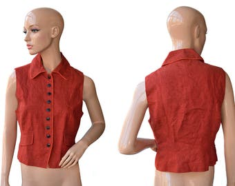 Vintage Josephine & Co women vest red 100% linen