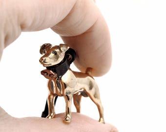 Vakkancs Jack Russel Terrier (JRT) minisculpture keychain (3D solid bronze)