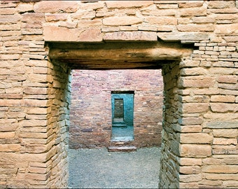 Ancient stone walls at the Pueblo Bonito Ruin at Chaco Canyon, New Mexico. Art wall décor architectural photography showing rooms with doors
