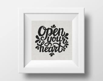 50% OFF! open your heart cross stitch pattern, Digital Cross stitch pattern, lettering, modern cross stitch