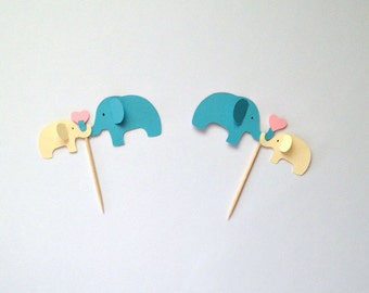 Elephant Party Cupcake Toppers, Elephant Baby Shower Cupcake Picks, Elephant Cupcake Picks