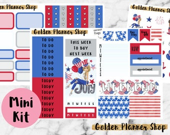 4th of July Mini Kit, Planner Stickers for Erin Condren Planner
