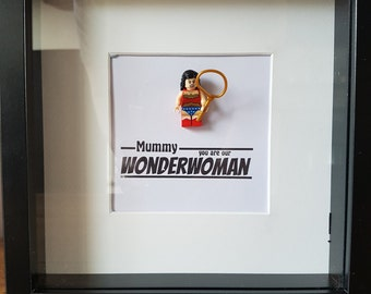 Superhero//Shadow Box Frame//Wonderwoman//Minifigures//Gift//Mother/For Her/My Hero/Mothers Day//Personalise//Geek//Lego//Kids Room//Nursery