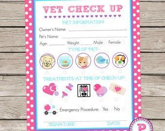 Adopt a Pet Vet Checkup Birthday Party Ideas Polka Dot Adoption Stuffed Animal Cat Kitten Puppy Pet Exam Form Veterinarian Pretend Play Fish