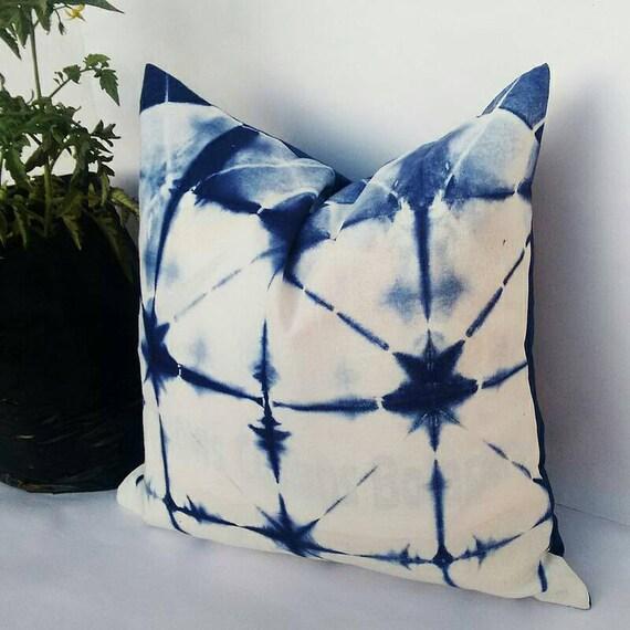Decorative Pillow Cases Indian Tie Dyed Indigo Blue Cushion