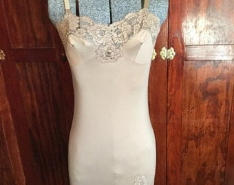 SALE Rich taupe vintage nylon slip with beautiful lace accents (A144)