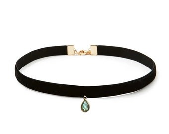 Black Velvet Labradorite Choker Necklace |