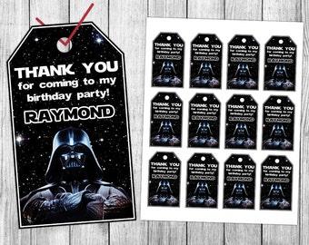 Star Wars Thank You Tags, Darth Vader Thank You Tags, Star Wars Favor Tags, Star Wars Gift Tags, Star Wars Tags, Star Wars Birthday Tags