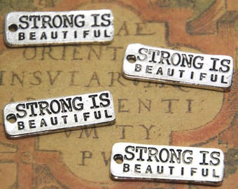 12pcs strong is beautiful Charms silver tone strong is beautiful Charms pendants 10x27mm ASD1603