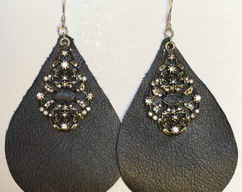Unique genuine black  leather earrings