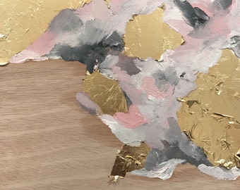 Untitled #11: Original Oil Painting on Wood Panel with Gold Leaf