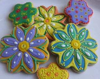 Flower Sugar Cookies, Mother's Day Floral Spring Favors,ColorfulHappyGardenSummerEasterCustomParty Sugar Cookies
