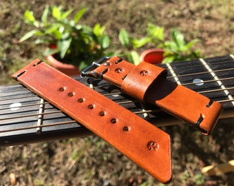Vintage Leather Watch Strap - 22mm - Amber