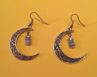 Half Moon earrings with owl