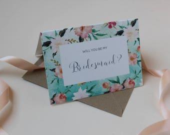 Will you be my Bridesmaid card || Floral Watercolour Bridesmaid card || Wedding card